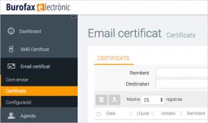 Burofax electrònic posició al portal del certificat del correu electrònic